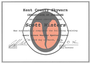 Severe Weather Spotter Certificate