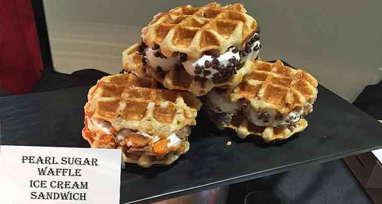 Pearl Sugar Waffle Ice Cream Sandwich