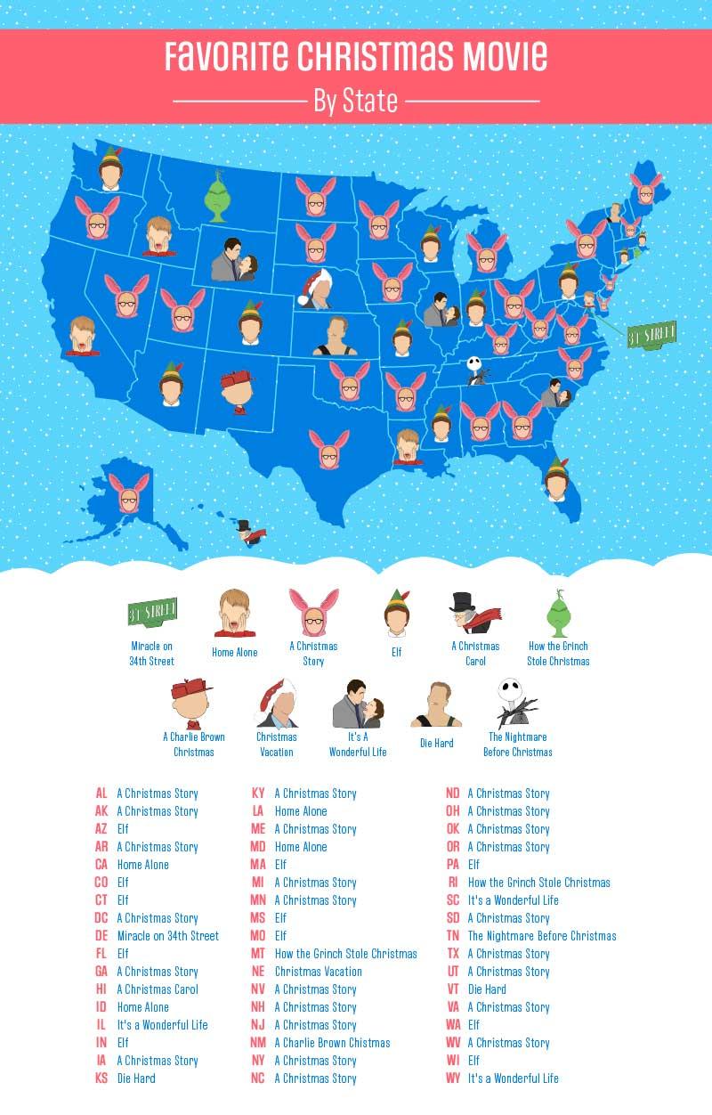 Favorite Christmas Movie Map